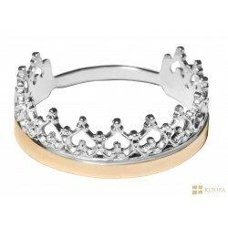 Кольцо серебо + золото арт. 151